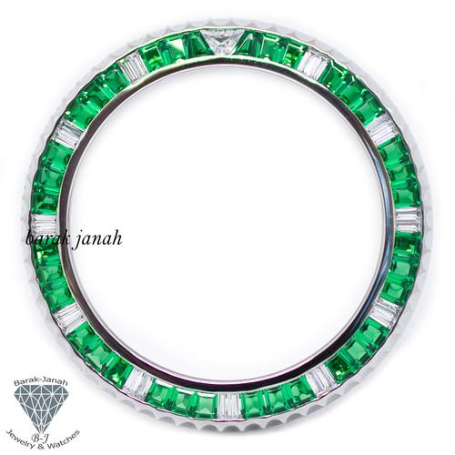Bezel For Rolex GMT-Master II 116710 Green Emerald Cut Stone Custom Bezel