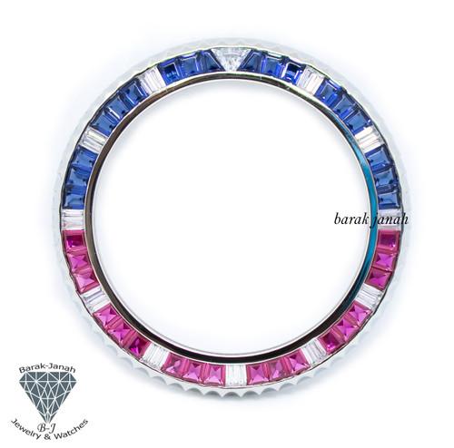 Bezel Insert For Rolex GMT-Master II 116759 SARU Baguette Cut Stone Custom Bezel