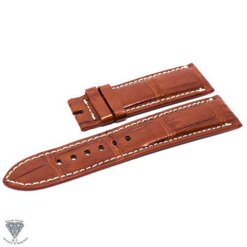 24mm Light Brown Real Alligator Crocodile Handmade Straps For Panerai Watches