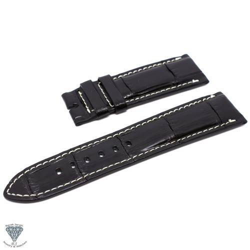 24mm Black Real Alligator Crocodile Handmade Straps For Panerai Watches