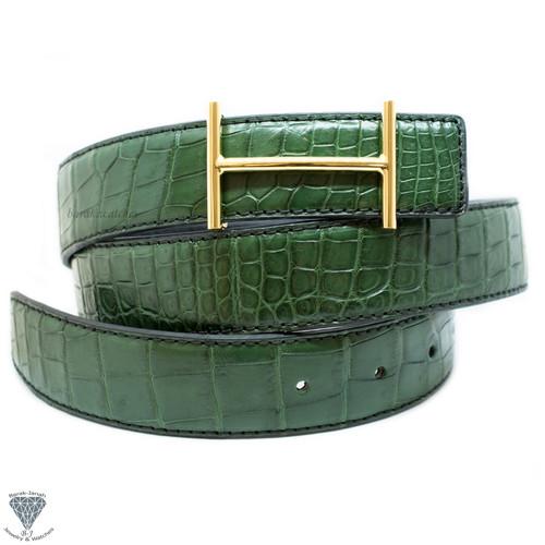 Green Real Alligator Crocodile Handmade Belt 32mm Width - Belt Size 107cm