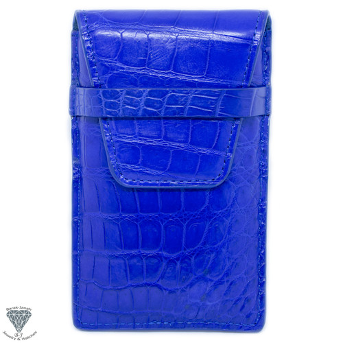 Alligator Crocodile Handmade Blue Travel Pouch Case For Watches And Jewelry