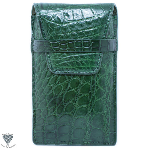 Alligator Crocodile Handmade Green Travel Pouch Case For Watches And Jewelry
