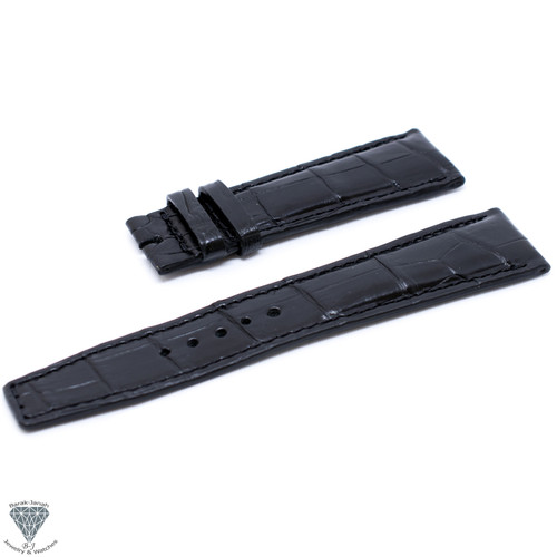 22mm Black Croco Handmade Straps For Jaeger LeCoultre
