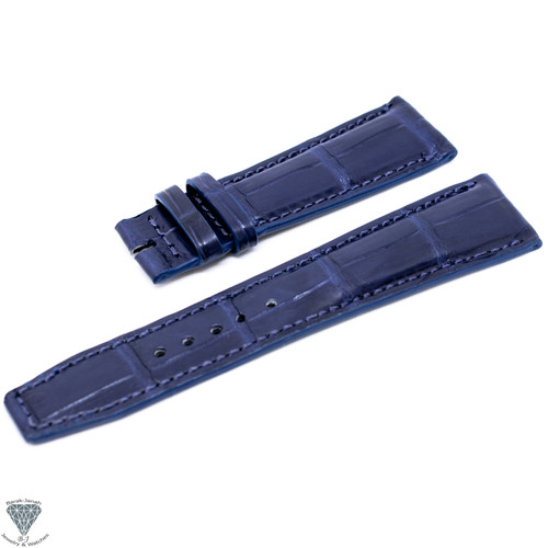 22mm Blue  Croco Handmade Straps For Jaeger LeCoultre