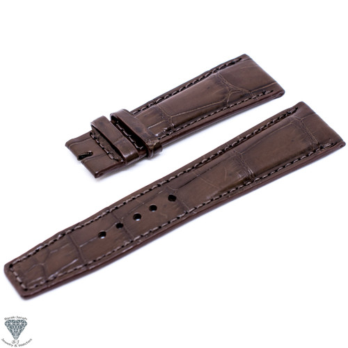 22mm Brown Croco Handmade Straps For Jaeger LeCoultre