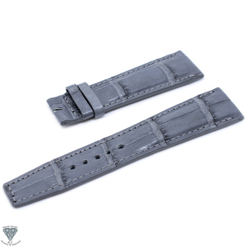 22mm Gray CrocoHandmade Straps For Jaeger LeCoultre