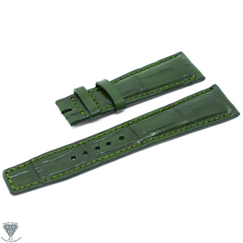 22mm Green Croco Handmade Straps For Jaeger LeCoultre