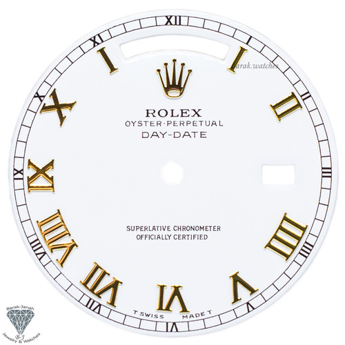 Rolex White Dial With Roman Numbers For Rolex Day-Date Caliber 3155 3055