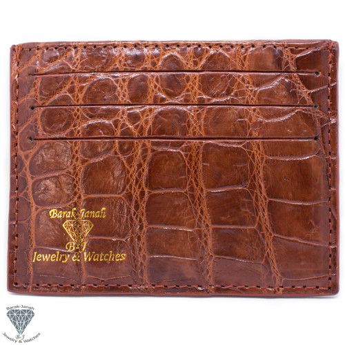 Brown Real Alligator Crocodile Handmade ID Card Holders Wallet For Men And Women