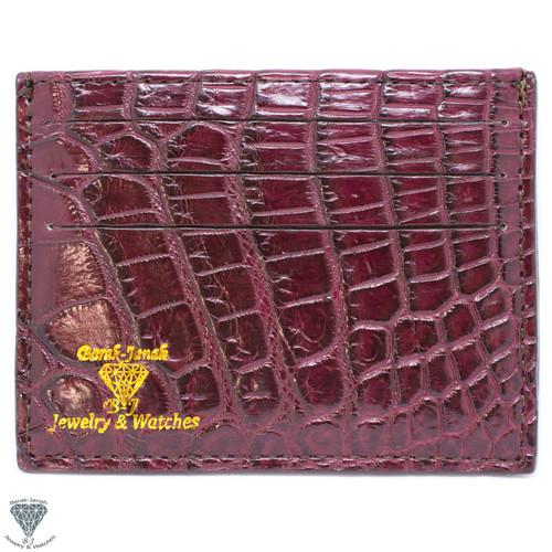 Bordo Real Alligator Crocodile Handmade ID Card Holders Wallet For Men And Women