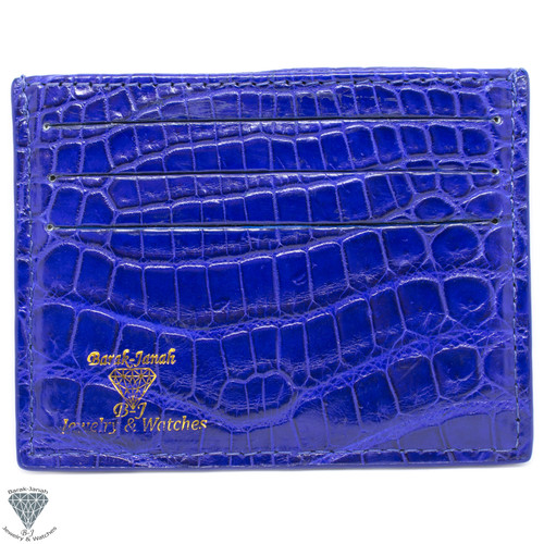 Blue Real Alligator Crocodile Handmade ID Card Holders Wallet For Men And Women