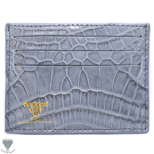 Gray Real Alligator Crocodile Handmade ID Card Holders Wallet For Men And Women
