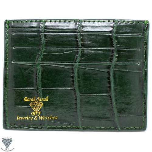 Green Real Alligator Crocodile Handmade ID Card Holders Wallet For Men And Women