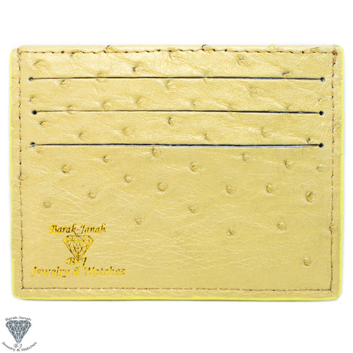 Banana Yellow Real Ostrich Handmade ID Card Holders Wallet For Men And Women