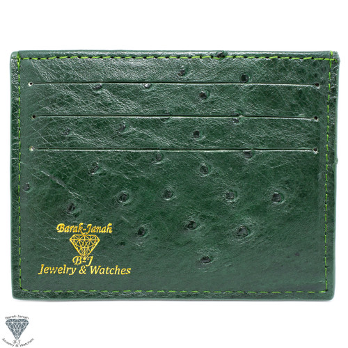 Green Real Ostrich Skin Handmade ID Card Holders Wallet For Men And Women