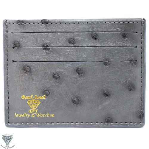 Gray Real Ostrich Skin Handmade ID Card Holders Wallet For Men And Women