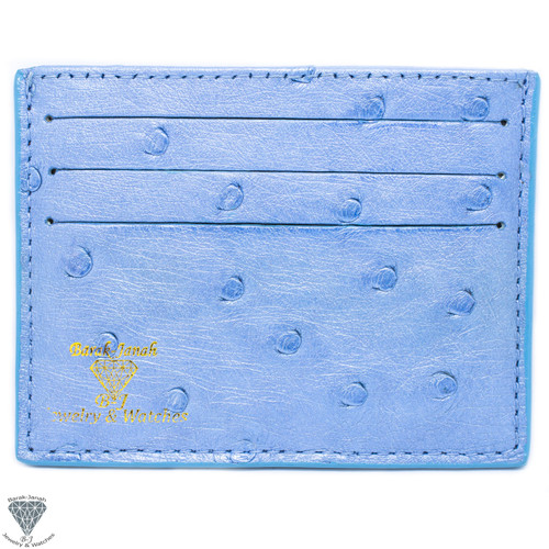 Light Blue Real Ostrich Skin Handmade ID Card Holders Wallet For Men And Women