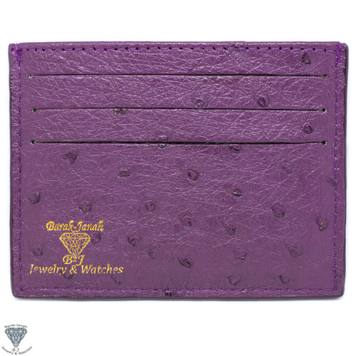 Purple Real Ostrich Skin Handmade ID Card Holders Wallet For Men And Women