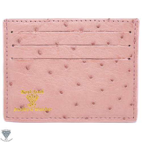 Pink Real Ostrich Skin Handmade ID Card Holders Wallet For Men And Women