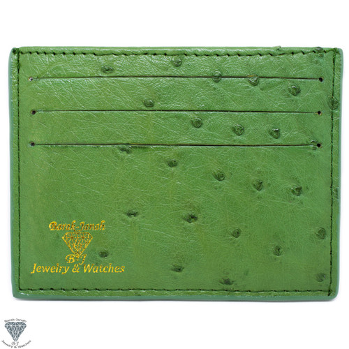 Light Green Real Ostrich Skin Handmade ID Card Holders Wallet For Men And Women