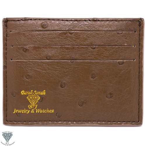 Brown Real Ostrich Skin Handmade ID Card Holders Wallet For Men And Women