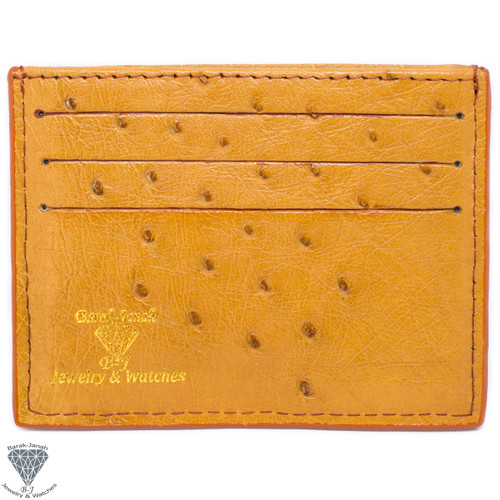 Tan Real Ostrich Skin Handmade ID Card Holders Wallet For Men And Women