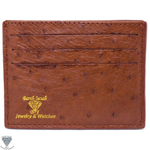 Coffee Brown Real Ostrich Skin Handmade ID Card Holders Wallet For Men And Women