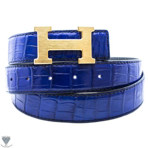 Navy Blue Real Alligator Crocodile Handmade Belt 32mm Width - Belt Size 120cm
