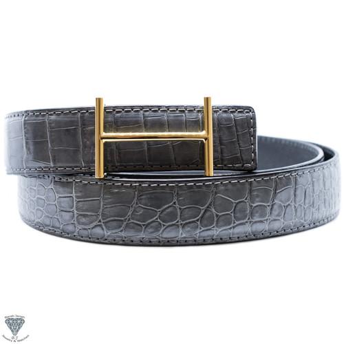Gray Real Alligator Crocodile Handmade Belt 32mm Width - Belt Size 120cm