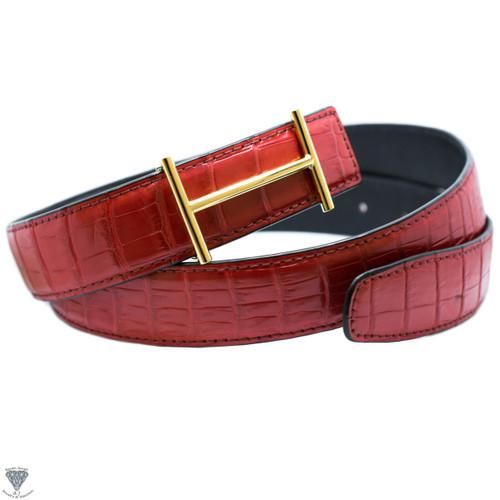 Red Real Alligator Crocodile Handmade Belt 32mm Width - Belt Size 120cm