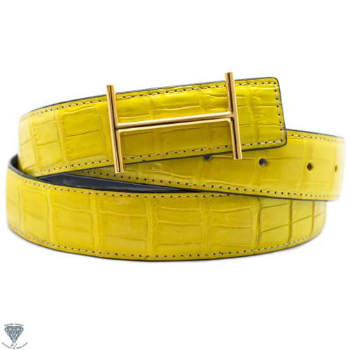 Yellow Real Alligator Crocodile Handmade Belt 32mm Width - Belt Size 120cm