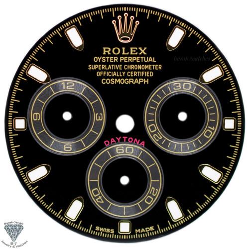 Black Rolex Dial For Rolex Daytona 116508, 116520, 116505 For Caliber 4130 Gold