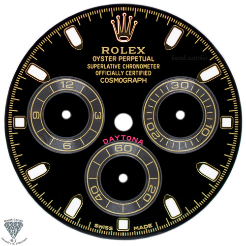 Black Rolex Dial For Rolex Daytona 116508, 116520, 116505 For Caliber 4130 Gold