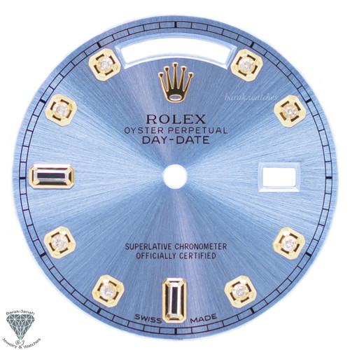 Light Blue Baguette Diamonds Rolex Dial For Rolex Day-Date Caliber 3155 3055