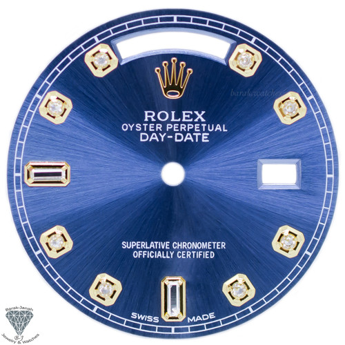 Blue Baguette Diamonds Rolex Dial For Rolex Day-Date Caliber 3155 3055