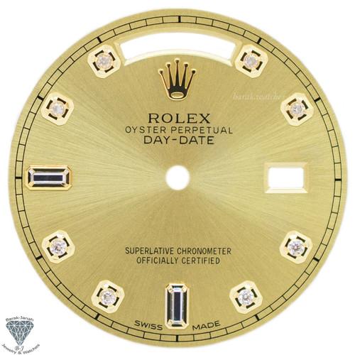 Champagne Baguette Diamonds Rolex Dial For Rolex Day-Date Caliber 3155 3055