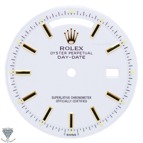 White Porcelain Rolex Dial For Rolex Day-Date 1803 Caliber 1555 1556 - Gold