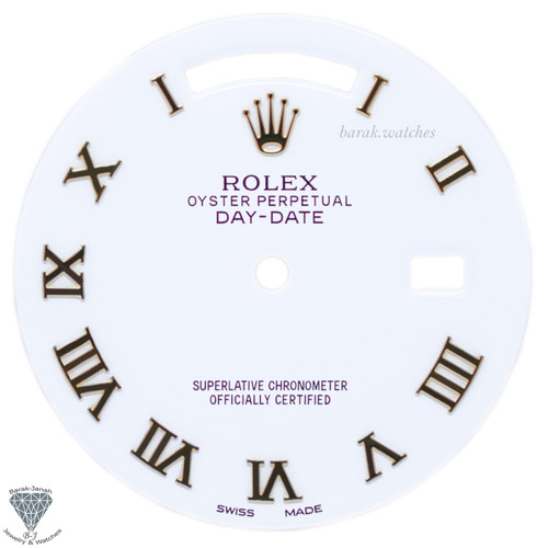 White Rolex Dial With Roman Numbers For Rolex Day-Date Caliber 3155 3055
