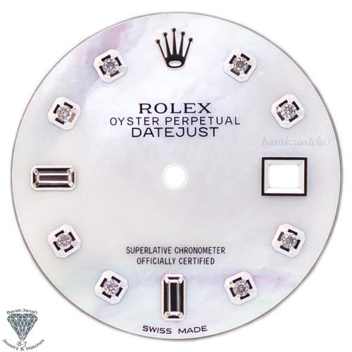 White MOP Baguette Diamond Dial For Rolex DateJust 36mm