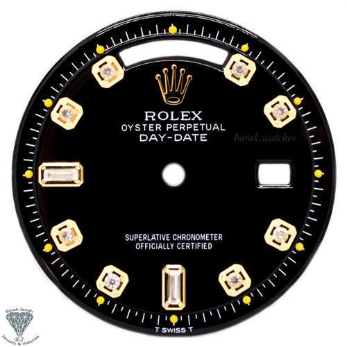 Black Baguette Diamond Dial For Rolex Day-Date 1803