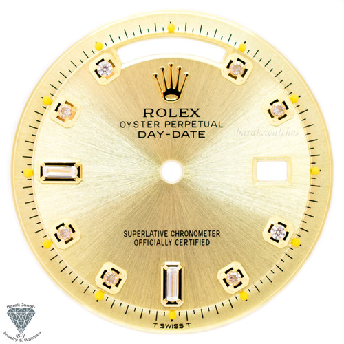 Champagne Baguette Diamond Dial For Rolex Day-Date 1803