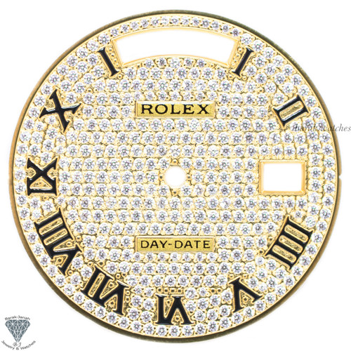 Gold Pave Diamonds Rolex Dial For Rolex Day-Date Caliber 3155 3055