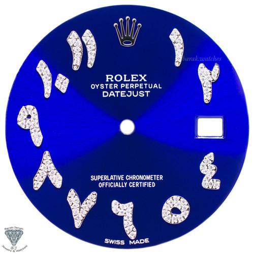 Blue Arabic Diamond Dial For Rolex DateJust 41mm 116300 - Silver