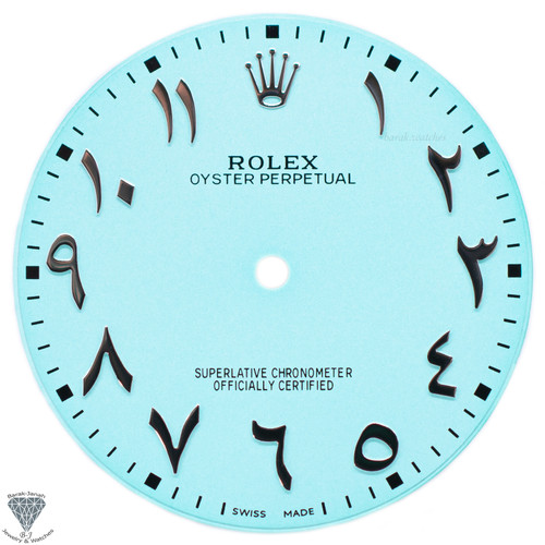 Arabic Turquoise Dial For Rolex Oyster Perpetual 41mm 124300 - Caliber 3230