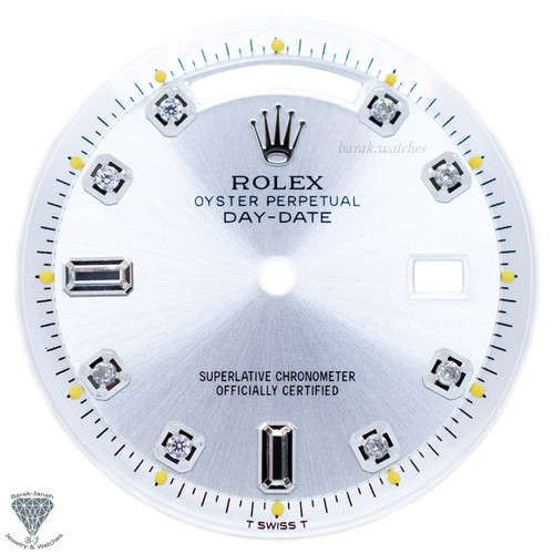 Silver Baguette Rolex Dial For Rolex Day-Date 1803 Caliber 1555 1556 - Silver
