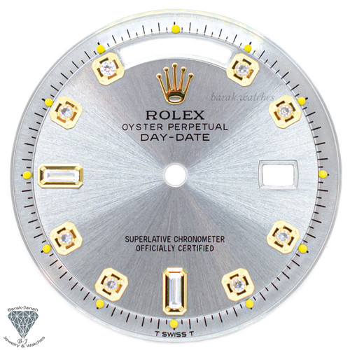 Gray Baguette Rolex Dial For Rolex Day-Date 1803 Caliber 1555 1556 - Gold