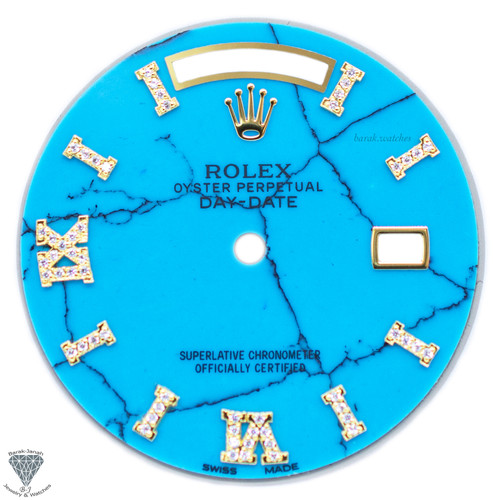 Blue Turquoise Diamond Dial For Rolex Day-Date Caliber 3155 3055