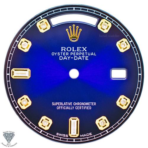 Dark Blue Baguette Diamonds Rolex Dial For Rolex Day-Date