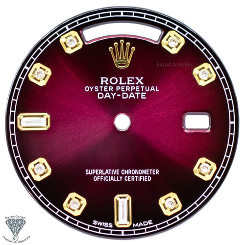 Dark Cherry Baguette Diamonds Rolex Dial For Rolex Day-Date Caliber 3155 3055